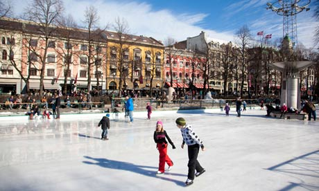 Skaters in Oslo, one of Europe's fastest growing cities