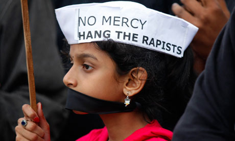 An Indian girl at a protest in Bangalore yesterday