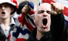 English Defence League demonstrate in Bradford