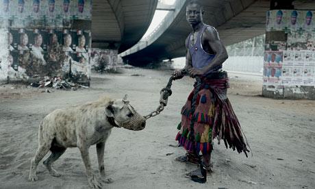 Man with hyena