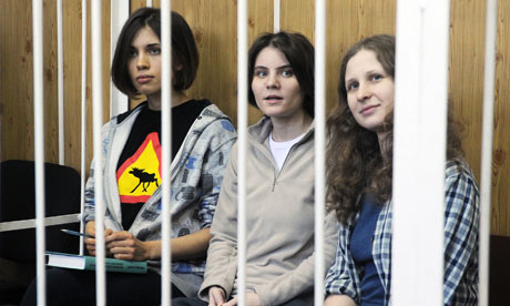 The arrested members of Pussy Riot at a district court hearing on 23 July. Photograph: Mudrats Alexandra/Corbis