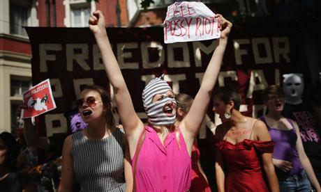 Demonstrators at the Russian embassy in London. Photograph: Dan Kitwood/Getty Images