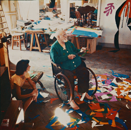 Matisse in his studio at the Hôtel Régina, Nice, c1952.