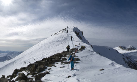 Skiing off Apharwat mountain in Gulmarg, Kashmir.