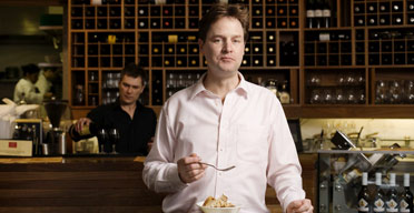 Liberal Democrats Leader Nick Clegg at Tapas Brindisa. Photograph: Linda Brownlee