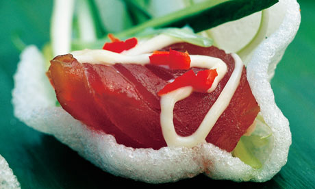 Seared tuna sashimi with cucumber, spring onions and wasabi mayonnaise ...