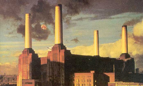 Pink Floyd 'Animals' album cover complete with flying pig.