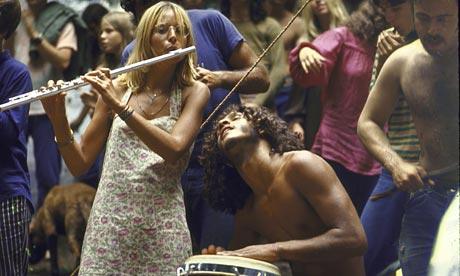 Hippies jamming at Woodstock