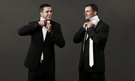 Kevin Pietersen and Andrew Strauss in suits