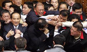 Taiwan parliament fight