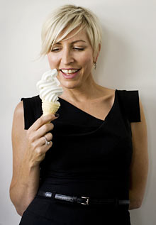 Heather Mills holding ice-cream