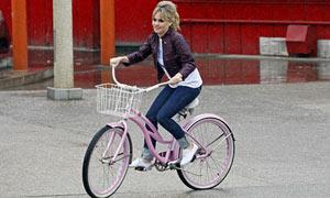 Duffy on a bike