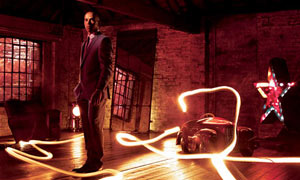 Lewis Hamilton and light painting