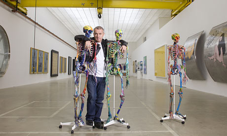 Damien Hirst in his studio in Stroud
