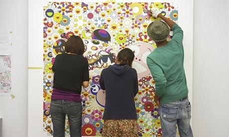 Assistants at work in Takashi Murakami's New York Studio