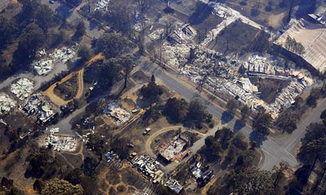 An aerial view of the burnt out ruins of Marysville