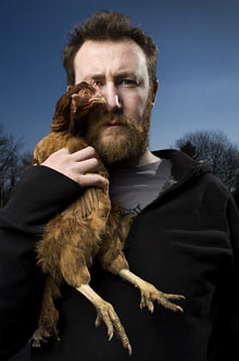 Alex Horne with Beyoncé the Gingernut Ranger