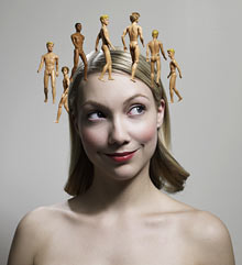 Girl with Ken dolls around head