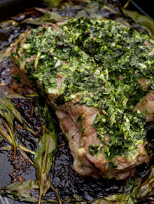 Roast lamb with garlic-leaf butter
