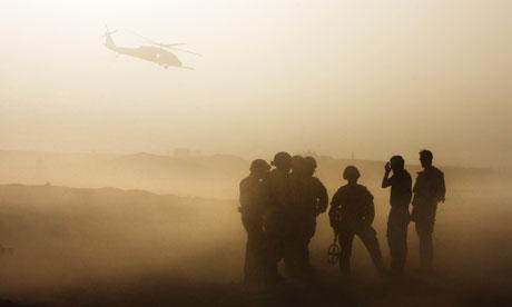 British forces patrol in Babaji village, Helmand