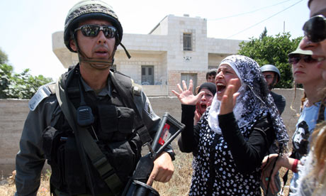 Palestinian protest against the expansion of the Israeli settlements