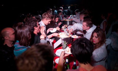 Time for a midnight feast at the Serpentine Gallery's sleepover.