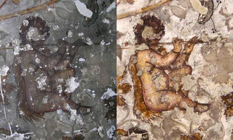 Petra wall painting, before and after cleaning
