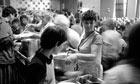 Marilyn Johnson serves food to striking miners