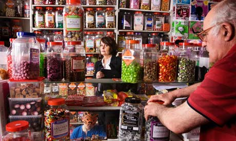 Christine Gillan in Tom Swan's sweet shop