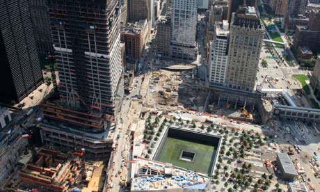 9/11 ground zero memorial site and skyscrapers under construction