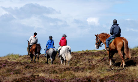 Pony trekkers on Brendon Common, Exmoor, Devon, England, UK. Image shot 2007. Exact date unknown.