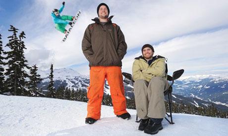 Katal snowboard landing pad inventors Stephen Slen, left, and Aaron Coret