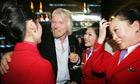 Richard Branson and Virgin Atlantic staff