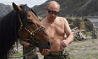 Russian Prime Minister Vladimir Putin on vacation in Tyva Republic