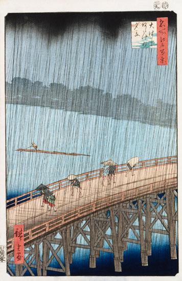 Utagawa Hiroshige ,,Netikėtas lietus virš Shin-Ohashi tilto