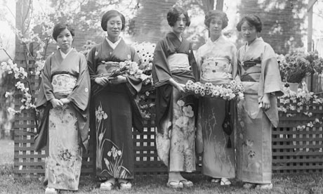 Japanese women at a flower show in America, 1930.