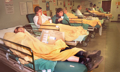 Patients on hospital trolleys