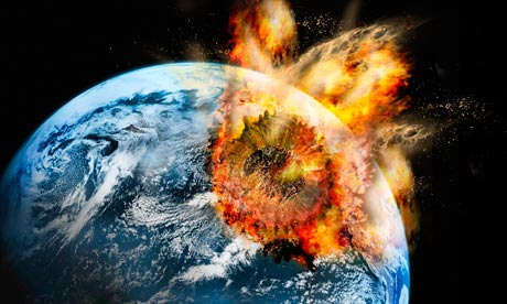 Asteroid striking the Earth