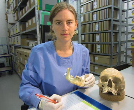Christina Warinner with skull