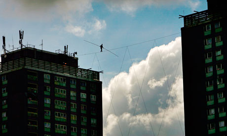 French High Wire Artist Attempts Walk Between Glasgow Towers