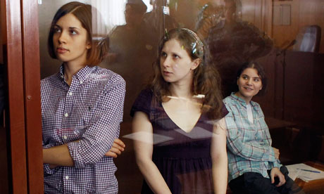 Pussy Riot's Nadezhda Tolokonnikova, Yekaterina Samutsevich and Maria Alyokhina at their trial.