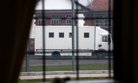 A prison van arriving at Styal women's prison in Cheshire