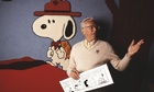 Charles Schulz with Snoopy