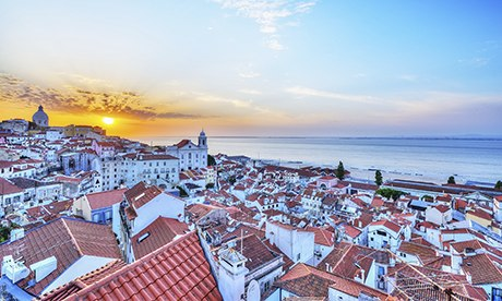 Sunrise over the rooftops of Alfama, Lisbon