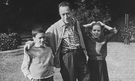 Albert Camus with his twins Jean and Catherine