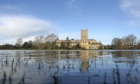 Flooded fields near Tewkesbury Abbey