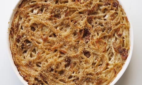 nigel slater Spaghetti Alfredo bake