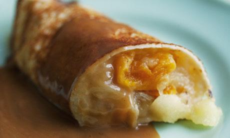 Nigel Slater's apple pancakes and cardamom butterscotch sauce