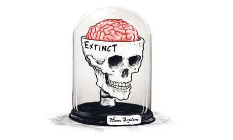 Skull and brain in a vitrine