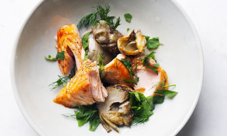 Nigel Slater's salmon with artichokes midweek dinner